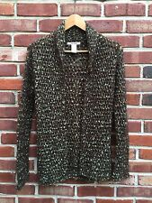 Free People Brown Green Mohair Chunky Knit One Button Cardigan Sweater XS RARE!