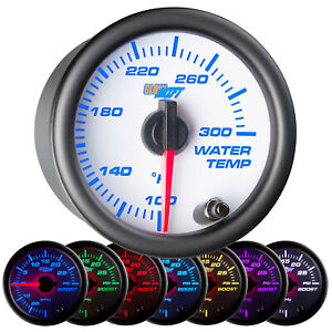 52mm GLOWSHIFT WHITE 7 COLOR COOLANT TEMPERATURE WATER TEMP GAUGE METER