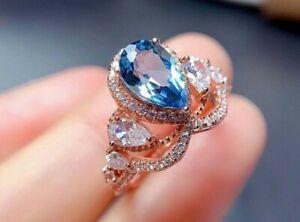 3Ct Pear Cut Blue Topaz & Diamond Women's Engagement Ring 14K Rose Gold Finish