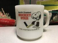 Peanuts Hockey Star Snoopy Vintage Glass Mug Glasbake White Schulz Milk Coffee