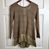A'reve Anthropologie Women's Open Knit Lace Shirt Tail Tie Back Sweater Size S