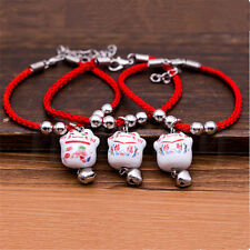 2pcs Cute Adjustable Ceramic Charm Lucky Cat Bracelet Fortune Money Handmade
