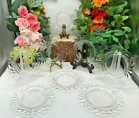 8 Cambridge Glass Caprice Clear Swirl  Salad/Luncheon Plates Scalloped 8 1/2""