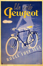 1920s Vintage Peugeot Bicycle poster French  13 x 19 Giclee Print