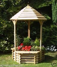 NEW WOODEN WISHING WELL GARDEN PLANTER RAISED - WITH SEATING