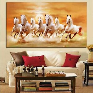 Unframed Single-Bedside Abstract Horse Racing White Horse Canvas Mural-Decor