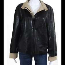Womens Qubha Vegan Leather PVC Jacket Dark Brown Size XL