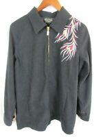 Bob Mackie Wearable Art Womens Jacket Black Embroidered Phoenix Full Zip Medium