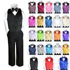 23 Color Satin 4 Piece Set Vest Bow Tie Boy Baby Toddler Formal Tuxedo Suit 8-20