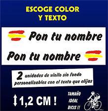 2 PEGATINAS PERSONALIZABLES  - BANDERA DE ESPAÑA CON NOMBRE - VINILO BICI BIKE