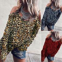 Women Cold Shoulder Tops Long Sleeve Leopard Party Top Basic Shirt Baggy Blouse