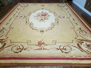 "10' 6"" X 13' Hand Made AUBUSSON Weave Needlepoint Flat Pile Wool Rug Nice (A)"