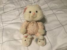 Vintage Easter Bunny Rabbit Pink Plush Jelly Beans Pink Bib Slippers smile