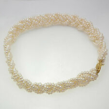 Freshwater pearl necklace with six strings of 4mm seed pearls UK DESPATCH!