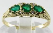 DAINTY 9CT 9K GOLD COLOMBIAN EMERALD DIAMOND PEAR ART DECO INS RING FREE SIZE