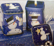 2 WICK IN TIN  VANILLA CANDLES  BLUE WITH SNOWMEN  BRAND NEW IN BOX
