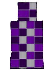 2 tlg Flausch Bettwäsche 135 x 200 cm Karo lila Microfaser Thermofleece