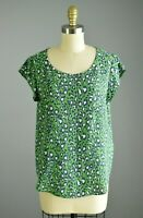 JOIE Silk Leopard Print Green Blouse Top Size Small