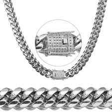 Mens Luxury Silver Necklace Stainless Steel Heavy Miami Chain Crystal Cuban Link