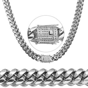 Men Luxury Silver Necklace Stainless Steel Cuban Miami Chain Crystal Brass Clasp