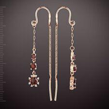 Russische Rose Rotgold 585 Durchzieher Ohrringe mit Granate & CZ Neu Schön💖💖💖