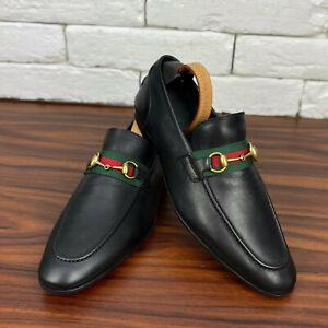 Authentic GUCCI Horsbit Penny Web Loafer Black Leather Sz 9.5 or 10.5 US 43.5 EU