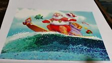 Santa on a surf board Christmas Card Leaning Tree New Old Stock