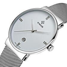 WWOOR Men's Stainless Steel Mesh Rhinestone Date Analog Quartz Wrist Watch+Box