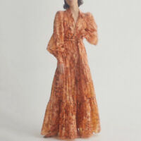 2020 Womens Designer Inspired Floral Puff Sleeves Long Maxi Dress