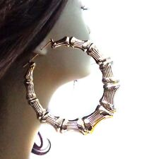 HUGE 4 inch HOOP EARRINGS Bamboo earrings - Old School GOLD TONE BAMBOO HOOPS