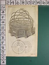 1754 Antiguo impresión ~ Orrery Astronomía Sistema Solar diagrama