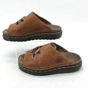 Dr Doc Martens Ring Cutout Chunky Slip On Slide Sandal Women 6 Brown Leather