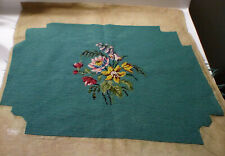 Vintage needlepoint turquoise floral chair cover wall tapestry