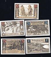 5x Notgeld Serie 10,  25, 50, 75 PF + 1 M FÜRSTENBERG Mecklenburg 1921