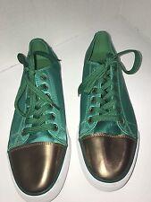 Twiggy London Captoe Sneakers 10 Wide Herringbone Fabric Green And Leather