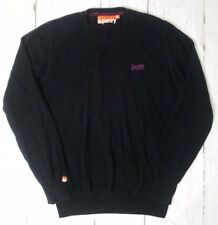 SUPERDRY Mens Size XL Fitted Jumper Sweater Long Sleeve Black / Purple Logo