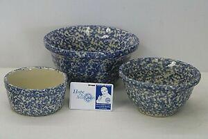 """NEW Workshops Gerald E Henn Set of 3 Blue Spongeware Bowls 6""""-8"""" Diameter"""