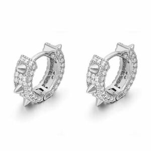 925 Silver Iced Out Spike Hoop Earrings