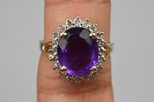 Women's Vintage 5.6 ct Amethyst & Diamond Halo Ring in 14k Solid Yellow Gold