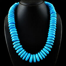 Genuine Turquoise beads necklace with 18 kt (750/1000) gold clasp, length 50 cm