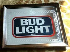 Vintage Bud Light Beer Bar Advertising Man Cave Mirror Budweiser 1988