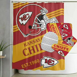 Kansas City Chiefs Bathroom Rugs Set 4PCS Shower Curtain Toilet Seat Cover Decor