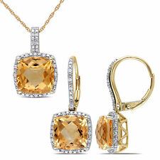 Amour 10k Yellow Gold Citrine with Diamond Halo Necklace and Dangle Earrings Set