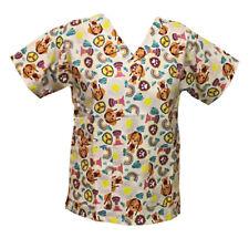 Nickelodeon Nursing Pediatric Scrubs Shirt Top Paw Patrol White XL