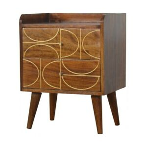 Solid Wood Chestnut Gold Inlay Abstract Bedside with 2 Drawers H59xW45xD35cm