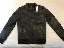 New Mens Superdry + Idris Elba Quilted Leather Flight Bomber Jacket Small