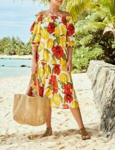 Bnwt, Next, gelb & rot Lemon Print elastischer Off Shoulder Midi Kleid Größe 8-16