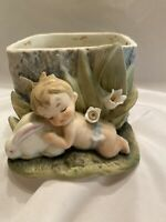 LEFTON nursery Planter, Sleeping Baby With Bunny, Vintage Nursery Decor