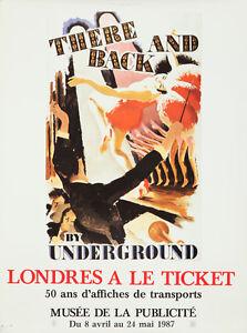 Original Vintage Affiche Métro de Londres Métro Voyage Exhibition 1987 Paris
