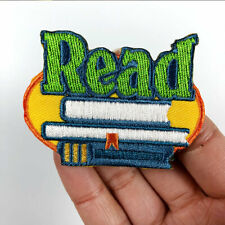 2PC Read Book Cartoon Letter Sew Iron on Applique Embroidery Patch Jacket Badge